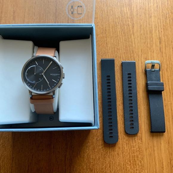 Skagen Black + Tan leather Hybrid Smart Watch 42mm